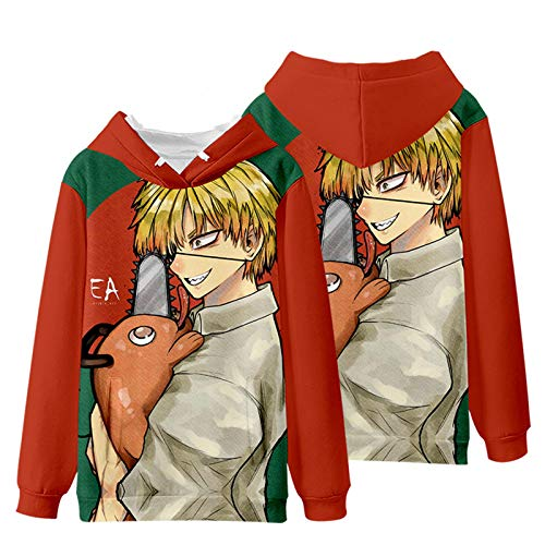 Famesale Sudaderas con Capucha para Chainsaw Man, Anime Harajuku Denji Power Makima Print Pullover Loose Fit Winter Outwear