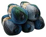ALIZE 5 x 100 g Strickwolle Mehrfarbig mit Farbverlauf