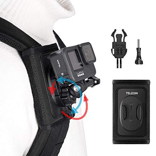 TELESIN Rucksack-Schultergurt-Halterung für GoPro Hero 9, Hero 8/7/6/5/4/3+, schwarz, mit 360 Grad drehbarem Pad-J-Haken, Halter-Befestigungssystem für Insta 360 One R Kameras