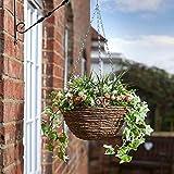 Outdoor Artificial Garden Flower Hanging Basket in Pink/White Weather Resistant 30cm