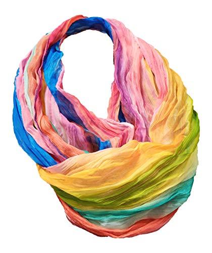 JameStyle26 Farbverlauf Seide Sommer Loop Verlauf Regenbogen Rainbow Silk Uni Rundschal Schlauchschal Stola Schal leicht (Streifen Pink)