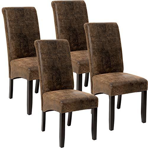 TecTake 4er Set Luxus Esszimmerstuhl Kunstleder Stuhl mit hoher Rückenlehne, ergonomische Form, Stuhlbeine aus Hartholz massiv, 106 cm hoch - Diverse Farben - (Antik Braun | Nr. 403500)