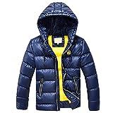 SXSHUN Niños Chaqueta de Nieve para Invierno Boys' Snow Jacket Abrigo Acolchado con Capucha para Chicos, Azul Oscuro, 7-8 años (Etiqueta: 130cm)