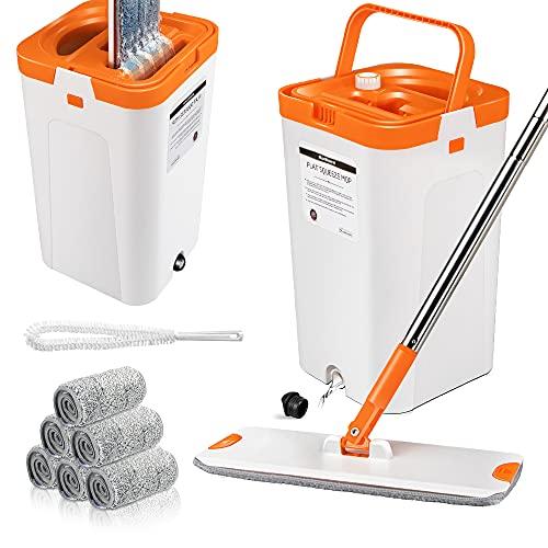 MASTERTOP Bodenwischer Set mit Eimer,Flach-Mopp mit 6 Wischmop Pads, Wischer Set für Holz/Laminat/Fliesen Böden (Orange und Weiß)-Gratis 1*Reinigungsbürste