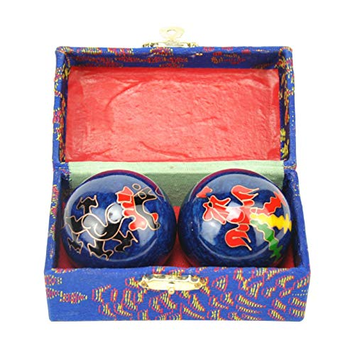 GeKLok Bolas de Baoding, bolas chinas de estrés para ejercicio de salud, bolas de 40 mm con caja (D)