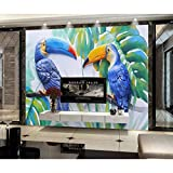 Carta da parati tucano Pappagallo di lusso Pittura murale Arte murale HD Stampa su tela Carta da parati strutturata Trucco Sfondo-400x280cm