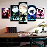 5 paneles de dibujos animados de Anime Manga Demon Slayer Moon Night Assassin Swordsman lienzo pintura pared arte cartel Boy Fans dormitorio sala de estar decoración del hogar Mural