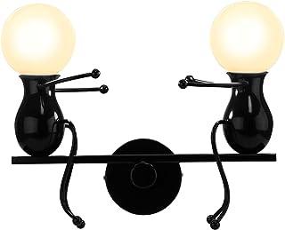 lampe murale de forme g/éom/étrique rotative pour lampe de fond de chambre /à coucher TV ampoule 6000k incluse Lampe murale blanche en m/étal BYX avec support en bois