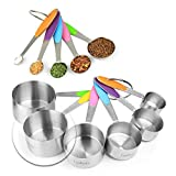 New Version! 11 Piece Measuring Cups And Spoons Set by Laxinis World | Sturdy Stainless Steel Stackable 6 Cups and 5 Spoons with Soft Silicone Handles to Measure Dry and Liquid Ingredients
