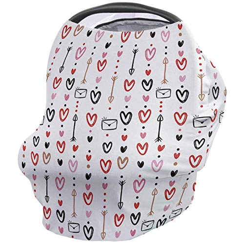 For Sale! Valentine's Day Nursing Cover for Baby Breastfeeding, Soft Breathable Stretchy Carseat Can...