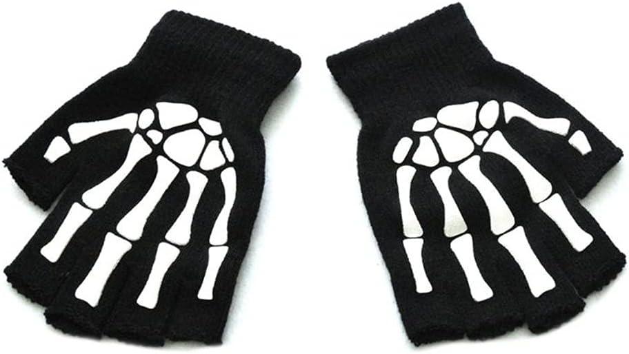 WBDL Unisex Adult Halloween Skeleton Skull Half Finger Gloves Glow in The Dark Fingerless Stretch Knitted Winter Mittens (Color : B)