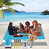 Sand Free Beach Blanket, Yirilan 79'' x 83'' Waterproof Beach Mat Oversize for 4-8 Peoples, Parachute Nylon with Unique Magic Anchors for Outdoor Picnicking Camping