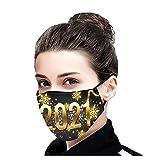 YUYOUG 1PC/3PCs 𝐌𝐀𝐒𝐐𝐔𝐄 Adultes Tissu Mouchoir 2021 Bonne Année Motif Femmes Hommes Lavable Respirant réutilisable en Plein Air Visage_Mas-que