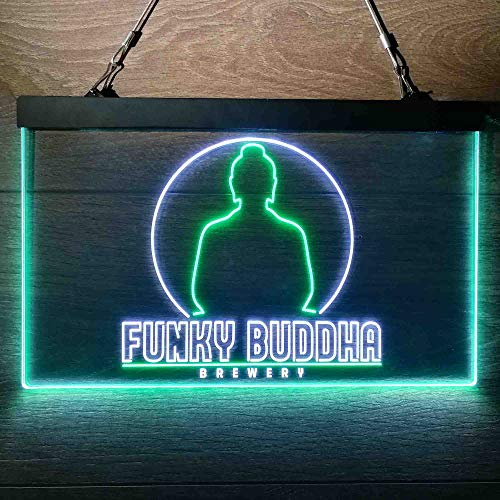 zusme Funky Buddha Brewery Colorful LED Neon Sign Man Cave Light White & Green W24 x H16
