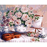 Pintura por números, flores azules, paisaje de floración, pintura DIY por número, lienzo para niños y adultos, regalo, decoración moderna para el hogar A22, 45x60cm