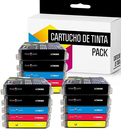 15 TONERPACK LC-980XL Cartuchos de Tinta Compatible para impresoras Brother DCP-145C DCP-163C DCP-165C DCP-167C DCP-185C DCP-195C DCP-197C DCP-365CN (Pack 15)
