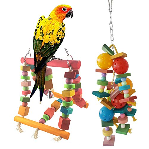 2 unids loro columpio escalada pájaro juguete escritorio patio plataforma entrenamiento loro pájaro juguetes loro columpio escalera