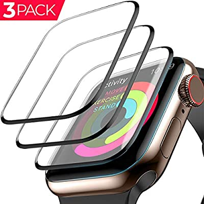 Apple Watch Screen Protector (44mm for Series 4) 3D Tempered Film Max Coverage Full Screen 99% Clear Max Coverage Anti-Bubble iWatch Screen Protector 44mm [3 Pack]