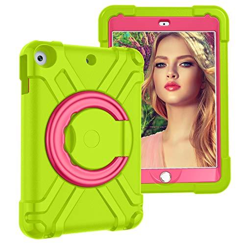 Tablet PC Bolsas Bandolera Cubierta de tabletas para niños para iPad 10.2 2019/2020, con soporte de mango plegable, soporte giratorio, cubierta protectora a prueba de golpes resistente y resistente