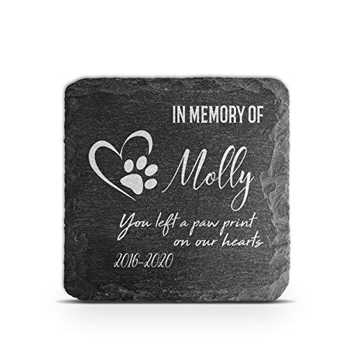 TULLUN Placa conmemorativa personalizada para mascotas, gato, perro, marco de piedra de pizarra, marcador para tumba, tamaño 100 x 100 mm, impresión de huellas