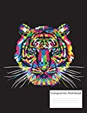 Composition Notebook: Rainbow Tiger on Black, 8.5'x11', Coll