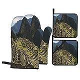 Juego de 4 Guantes y Porta ollas para Horno Resistentes al Calor Perú, Cusco, Machu Picchu.Vista de la ciudadela de Machu Picchu y Sus montañas para Hornear en la Cocina,microondas,Barbacoa