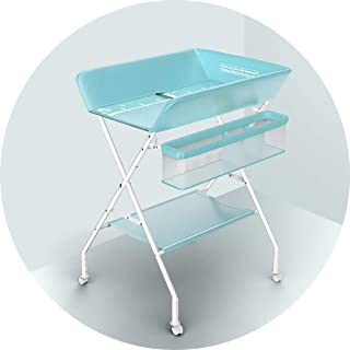 Portable Changing Mats Diaper Table Baby Multifunctional Portable Care Table Foldable Bed Bath Table (Color : Blue, Size : 73 * 64 * 96cm)