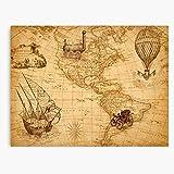 Weltkarte Zeichnung Map Vintage Welt Kartographie World Amerika Kunstwerk - World map - Canvas Prints for Walls Decor (No Frame) Customize
