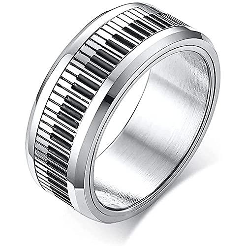 SJJMYM Llavero giratorio de acero inoxidable para hombre, banda elegante Spinner de banda melomana, regalo de joyas, 8