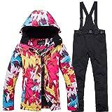 Conjunto de pantalones de chaqueta de esquí para mujer traje de esquí al aire libre impermeable...