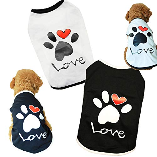 Sebaoyu Dog Shirts for Small Dogs Summer Puppy Clothes Costume Cute Pet Clothing Outfits Cat Vest Apparels Love Pattern for Ropa para Perros Boy Girls Breed 2 Pack (Medium)