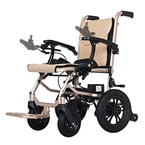 ZZUU Rollstuhl elektrisch faltbar Mit herausnehmbarem Lithium Akku/Doppelte einstellbare Steuerung,B