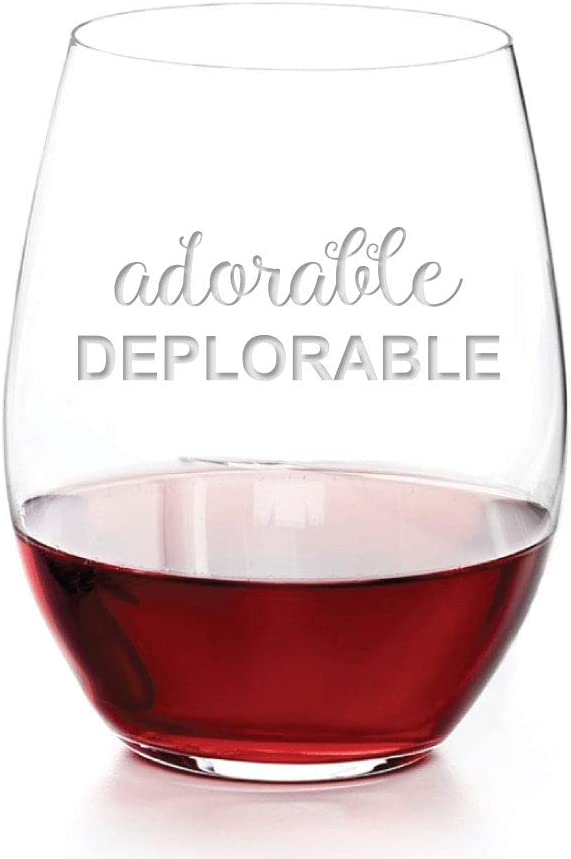 Adorable Deplorable Award Engraved Translated Stemless 15 oz Wine Glass