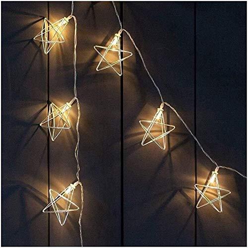 RTUTUR Metal Light String Holiday Lights, 3M, 20 LED Decorative Lamp String Fairy Star Rose Gold Geometric Battery Pow.
