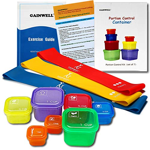80 Day Equipment - Resistance Loop Exercise Bands with 21 Day Portion Control Container kit - Exercise Guide & Recipes included
