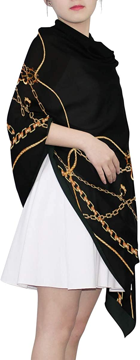 Gold Chains And Tassels Unique Fashion Scarf For Women Lightweight Fashion Fall Winter Print Scarves Shawl Wraps Gifts For Early Spring