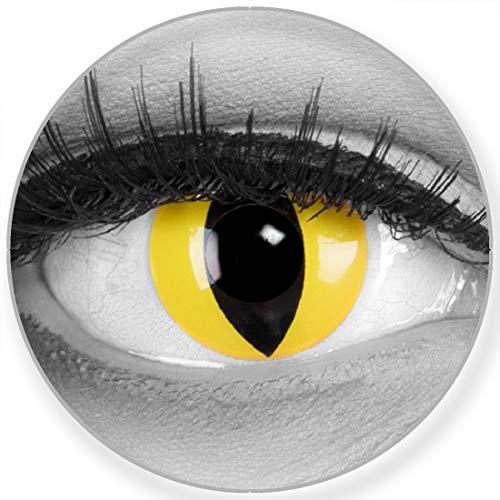 Funnylens Farbige gelb schwarz Kontaktlinsen Cateye mit Stärke - weich mit Stärke 2er Pack + gratis Behälter – 3 Monatslinsen - perfekt zu Halloween Karneval Fasching oder Fasnacht -3.5