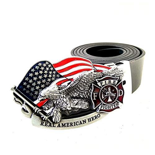 Cinturón Hombre Cinturón De Cuero Negro Para Hombre, Bandera Americana, Águila, Bomberos, Héroe Americano, Hebilla De Cinturón, Cinturones De Metal Para Hombre, Regalo, Como Se Muestra, 100 Cm