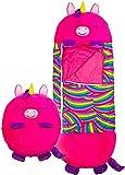 NINGXUE Almohada de Juego Grande y Saco de Dormir, Saco de Dormir de Animales de Dibujos Animados, súper Suave, Compacto, para Acampar, Senderismo, Unicornio Rosa (Mediano 3-6 años)