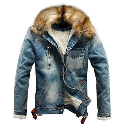 Herren Jeansjacke mit Fell Gefüttert Winter Warme Dick Denim Winterjacke Riou Günstig