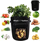 Bolsas de cultivo de papa 7 galones, 4 bolsas de cultivo de verduras con pequeños orificios de drenaje, ventana visualizada, bolsas de cultivo de plantas para jardín / patata / fresa / tomates / zanah