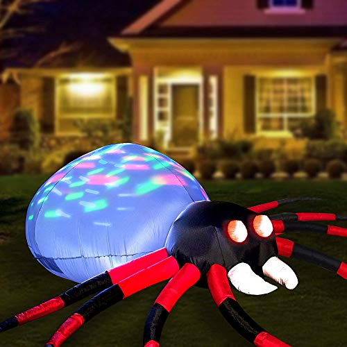 YIHONG 8 Ft Long Halloween Inflatables Spider Decorations with Kaleidoscope LED Lights, Blow up Party Decor for Indoor Outdoor Yard…