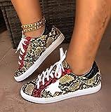LYYJF Zapatos de Lona para Mujer Zapatillas de Cordones con Tacón Plano de Plataforma de cuña tacón Patrón de Serpiente Retro,Marrón,39