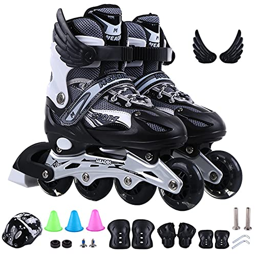 Adjustable Inline Skates, Roller Skates with LED Flashing Wheels,Roller Blades with Protective Gear Set for Adults and Children Beginners (S)