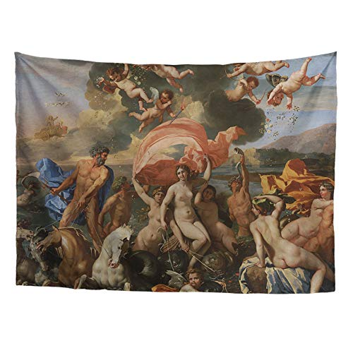 Spring Warner Greek Mythology Classic Art Masterpiece Tapestry Series Nicolas Poussin Triumph of Neptune 1634. Classical Art Tapestry Wall-Hanging Vintage Collection Home Décor