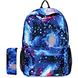 Galaxy Backpack School Backpack for Kids Boys Girls Student Stylish Unisex Canvas Laptop Backpack with Pencil Bag