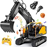 Volvo RC Excavator 3 in 1 Construction Truck Metal Shovel and Drill 17 Channel 1/16 Scale Full Functional with 2 Bonus Tools Hydraulic Electric Remote Control Excavator Construction Tractor