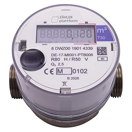 ZÄHLER plattform OMS Funk Wasserzähler Kalt Qn 1,5, Baulänge 80 mm, Durchfluss 1/2 Zoll, Anschluss 3/4 Zoll Eichung 2020 gültig bis 2026 Aufputzwasserzähler
