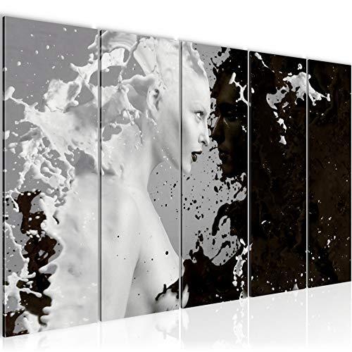 Bilder Milk & Coffee Wandbild 150 x 60 cm Vlies - Leinwand Bild XXL Format Wandbilder Wohnzimmer Wohnung Deko Kunstdrucke Bunt 5 Teilig - MADE IN GERMANY - Fertig zum Aufhängen 301856a