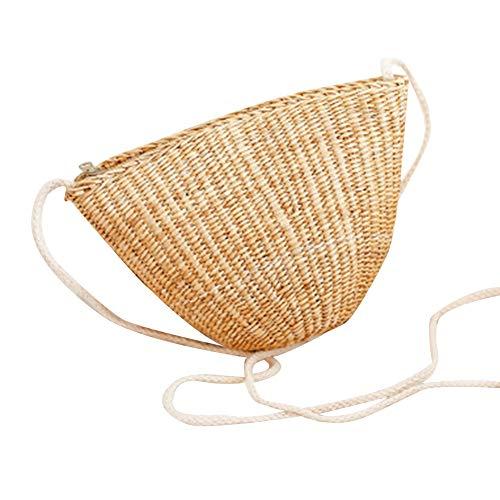 Qinlee Mini bolso de playa cruzado para mujer, estilo bohemio, ratán, paja tejida, cesta de regalo, bolso bohemio, bolso de mano, para mujer, color caqui